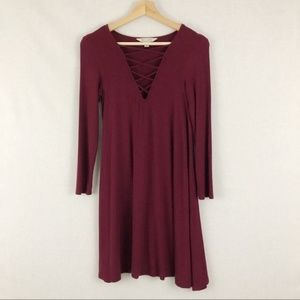 American Eagle Soft n Sexy maroon ribbed dress S